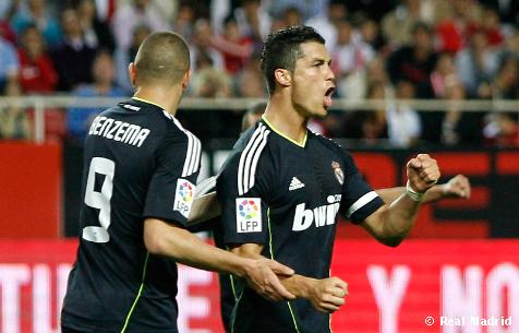 El Real Madrid goleo 6-2 al Sevilla y esta a 5 puntos de el Barcelona
